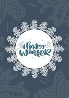 Texto escandinavo da rotulação da caligrafia do vetor do xmas do inverno feliz no projeto de cartão do Natal. Entregue a ilustração desenhada com fundo floral da textura. Objetos isolados