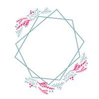 Weihnachtshand gezeichneter Kranzgeometrie-Rahmen stilisierte Quadrat für Karte mit Blumen und Blättern. Skandinavische Vektorillustration mit Platz für Ihren Text
