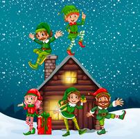 Five elves at the wood cabin on christmas night