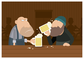 Two Guys Drinking Beer In a Bar