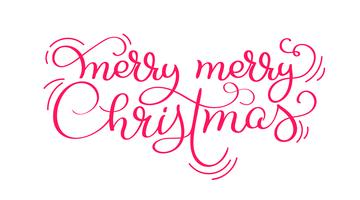 Red Merry merry Christmas vintage calligraphy lettering vector text isolated on white background. For holiday art design, mockup brochure style