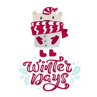Winter days calligraphy lettering christmas text. Xmas scandinavian greeting card with hand drawn vector illustration of cute bear with red hat and scarf. Isolated objects