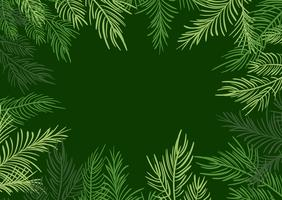 Green Vector illustration Christmas frame background with fir-tree branches