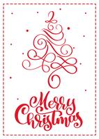 Tarjeta de felicitación escandinava de la Navidad con el texto de las letras de la caligrafía de la Feliz Navidad. Ejemplo dibujado mano del vector del árbol de navidad del vintage. Objetos aislados