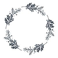 Christmas scandinavian Hand Drawn Vector floral wreath with place for your text. Isolated on white background for retro design flourish