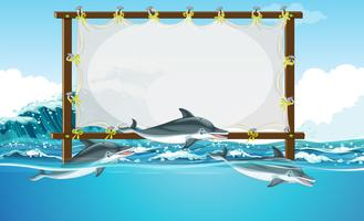 Projeto de fronteira com três golfinhos nadando
