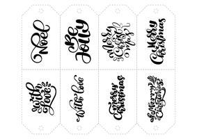 Insieme di calligrafia di frasi di vettore per tag. Illustrazione disegnata a mano dell'iscrizione di Natale isolato. Scheda di disegno di doodle di cuore vacanza schizzo. arredamento per la stampa e l'arredamento