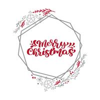 Merry Christmas Calligraphy vector text in xmas floral and geometric elements frame wreath. Lettering design in scandinavian style. Creative typography for Holiday Greeting Gift Poster