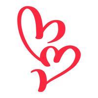 Dos amantes rojos del corazón. Vector de caligrafía hecha a mano. Decoración para tarjetas de felicitación para el día de San Valentín, taza, superposiciones de fotos, estampado de camisetas, folleto, diseño de carteles