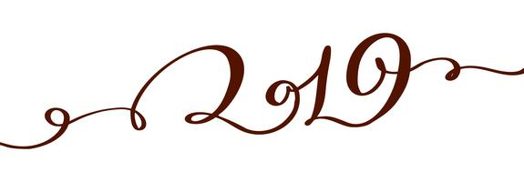 Handwritting flourish vector calligraphy text 2019. hand drawn New Year and Christmas lettering number 2019. Illustration for greeting card, invitation, holidays tag, Isolated on white background