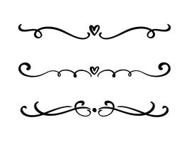Vector vintage line elegant valentine dividers and separators, swirls and corners decorative ornaments. Floral lines filigree design heart elements. Flourish curl elements for invitation or menu page illustration