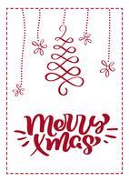 Scandinavische de groetkaart van Kerstmis met de vrolijke van letters voorziende teksten van de Kerstmiskalligrafie. Hand getrokken vectorillustratie van bloeit. Geïsoleerde objecten