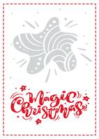 Magic Christmas kalligrafi vektor bokstäver text. xmas skandinavisk gratulationskort med handritad illustrationstjärna. Isolerade föremål