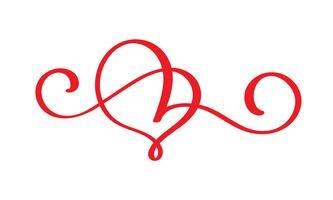 coeur rouge amoureux fleurissent. Calligraphie de vecteur à la main. Décor pour carte de voeux pour la Saint Valentin, mug, superpositions de photos, impression de t-shirt, flyer, conception de l'affiche isolée sur fond blanc