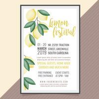 Cartel del festival del limón del vector