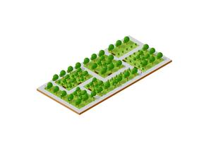 City set quarter top view landscape isometric 3D projection