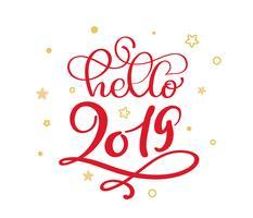 Hallo 2019 rote Weihnachtsweinlesekalligraphie, die Vektortext mit Winterflourish kalligraphischen und Goldskandinavischen Sternelementen beschriftet. Für künstlerisches Design, Mockup-Broschürenstil