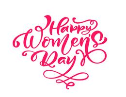 Phrase de calligraphie rose Happy Womens Day. Lettrage dessiné à la main de vecteur. Illustration de femme isolée. Pour le croquis de vacances doodle carte de conception