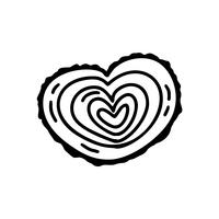 Vektormonoline Valentinsgruß-Tageshand gezeichnetes stilisiertes hölzernes Herz. Feiertagsskizzengekritzel Gestaltungselementvalentinsgruß. Ikonenliebesdekor für Netz, Hochzeit und Druck. Isolierte darstellung
