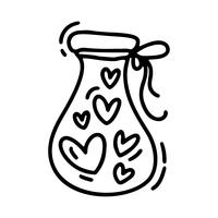 Vector monoline cute jug with hearts. Valentines Day Hand Drawn icon. Holiday sketch doodle Design element valentine. love decor for web, wedding and print. Isolated illustration