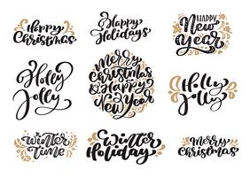 Set of Merry Christmas vintage calligraphy lettering vector text with winter drawing scandinavian design elements. For art design, mockup brochure style, booklet print flyer, poster