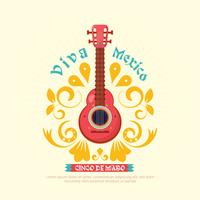 Cinco de mayo guitar background with ornament