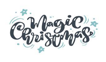 Calligraphie vintage de Noël magique lettrage de texte vectoriel avec hiver dessin décor scandinave s'épanouir. Pour la conception artistique, style brochure dépliant, couverture de l'idée de bannière, dépliant, flyer, affiche