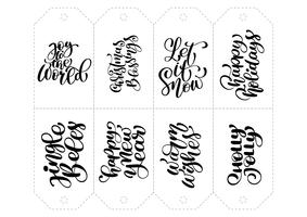 Vektor kalligrafi uppsättning fraser för taggar. Isolerad Jul Hand Drawn Lettering Illustration. Hjärtferie skissa klotter designkort. inredning för tryck och inredning