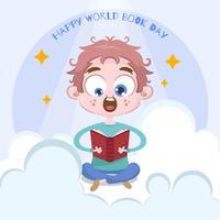Fondo de día de libro de mundo dibujado a mano