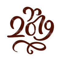 Handwritting flourish vector calligraphy text 2019. hand drawn New Year and Christmas lettering number 2019. Illustration for greeting card, invitation, holidays tag