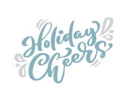 Feiertag jubelt blauem Weihnachtsweinlesekalligraphiebeschriftungs-Vektortext mit skandinavischem Zeichnungsdekor des Winters zu. Für Kunstdesign, Mockup-Broschürenstil, Bannerideenabdeckung, Broschürendruck-Flyer, Poster