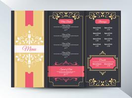 Design vintage do menu do restaurante
