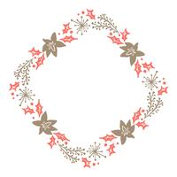 Jul Hand Drawn Floral Wreath Vinter Design Elements röd och brun isolerad på vit bakgrund för retro design blomstra. Vektor kalligrafi och bokstäver illustration