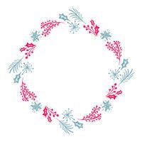Weihnachtshand gezeichneter Kranz rote und blaue Blumenwinter-Gestaltungselemente lokalisiert auf weißem Hintergrund für Retro- Designflourish. Vektorkalligraphie und Beschriftungsillustration