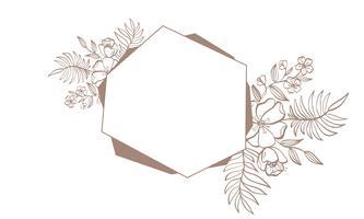 Marco marrón de la invitación de la boda de la geometría para la tarjeta con las flores y las hojas. ilustración vectorial con lugar para el texto