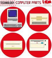 Retro Computers - equipamento, CPU, CD e disquete, computador antigo, eps, vetor