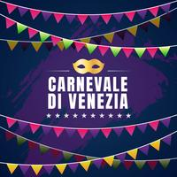 Conception de vecteur typographique Carnevale Di Venezia avec fond d'élément symbole symbole de carnaval