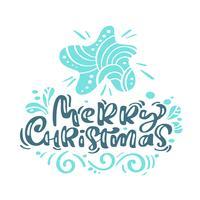 Kalligraphie-Beschriftungstext der frohen Weihnachten. Weihnachtsskandinavische Grußkarte mit Hand gezeichnetem Vektorillustrationsstern. Isolierte Objekte