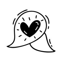 Vector monoline cute text bubble with Heart. Valentines Day Hand Drawn icon. Holiday sketch doodle Design element valentine. love decor for web, wedding and print. Isolated illustration