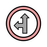 Vector Go straight or left Icon