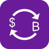 Tauschen Sie Bitcoin mit Dollar-Vektor-Ikone aus