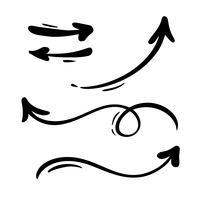 Vector abstracto conjunto de flechas. Doodle hecho a mano estilo marcador. Ilustración de boceto aislado para nota, plan de negocios, presentación gráfica