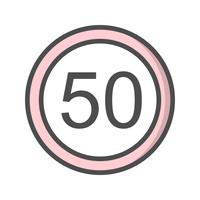 Vector Speed limit 50 Icon