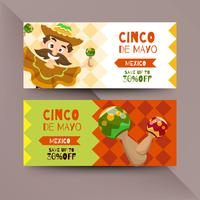 Cinco de mayo flyer with Mexican characters
