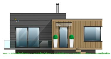 Facade of a modern house with a terrace