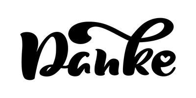 Mano de vector dibujado letras Danke. Caligrafía manuscrita moderna elegante con cita agradecida. Gracias Deutsch Ilustración de tinta. Cartel de tipografía sobre fondo blanco. Para tarjetas, invitaciones, estampados etc.