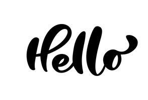 Kalligrafi bokstäver text Hej. Handtecknad Pensel Pen frase isolerad på vit bakgrund. Handskriven vektor illustration