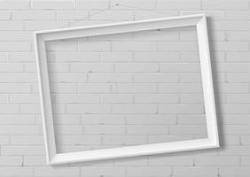 Horizontal white thin photo frame