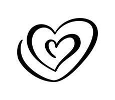 Due segni del cuore di amore. San Valentino romantico. Simbolo dell'icona dell'illustrazione di vettore - unisca la passione e le nozze. Modello per maglietta, carta, poster. Design elemento piatto