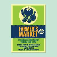 La plantilla de la invitación del cartel del aviador del mercado del granjero con las verduras y el fondo de la fruta